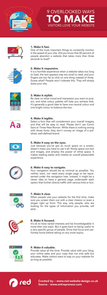 9 Ways to Make Visitors love Your Website [Infographic]