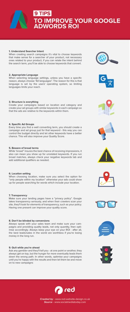 9 Tips to Improve Your Google Adwords ROI [Infographic]